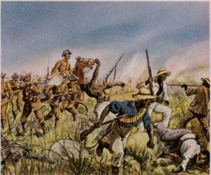 Les Troupes allemandes combattant les Héréros (1904), peinture propagandiste de Richard Knötel (1857-1914), reproduite dans un ouvrage de 1936.
