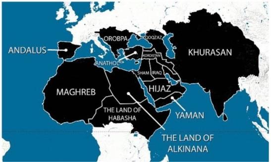 Le califat. La carte montre les plans pour la domination de l'Europe, de l'Afrique du Nord, Inde et Moyen-Orient»