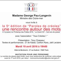 """5ème édition de """"Paroles de Créoles"""" - Ministère des Outre-mer, 19 avril 2016"""